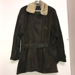Oliver Leather Fur Trim Buttoned Belted TrenchCoat